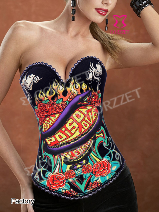 2269B-S# Snake and Flowers Printed Overbust Corset Top