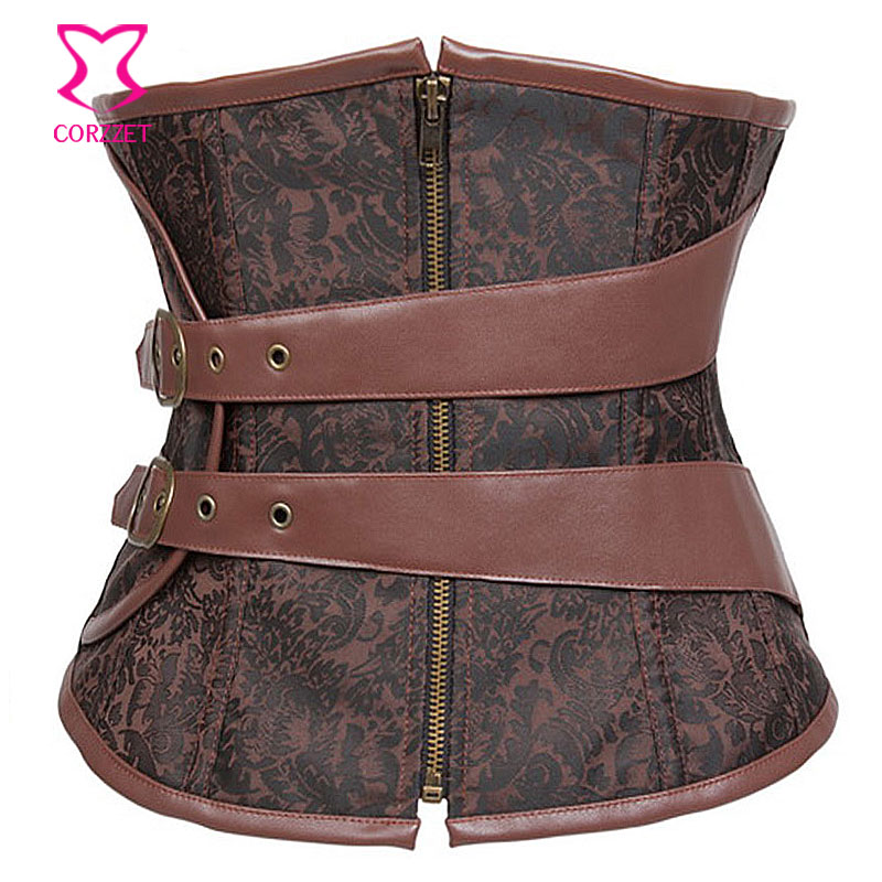 2093# Brown Jacquard Steel Boned Underbust Corset Zip Up Waist Trainer