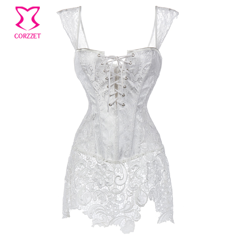 H3860# White Paisley Pattern Brocade and Venice Lace Plus Size Corset Dress