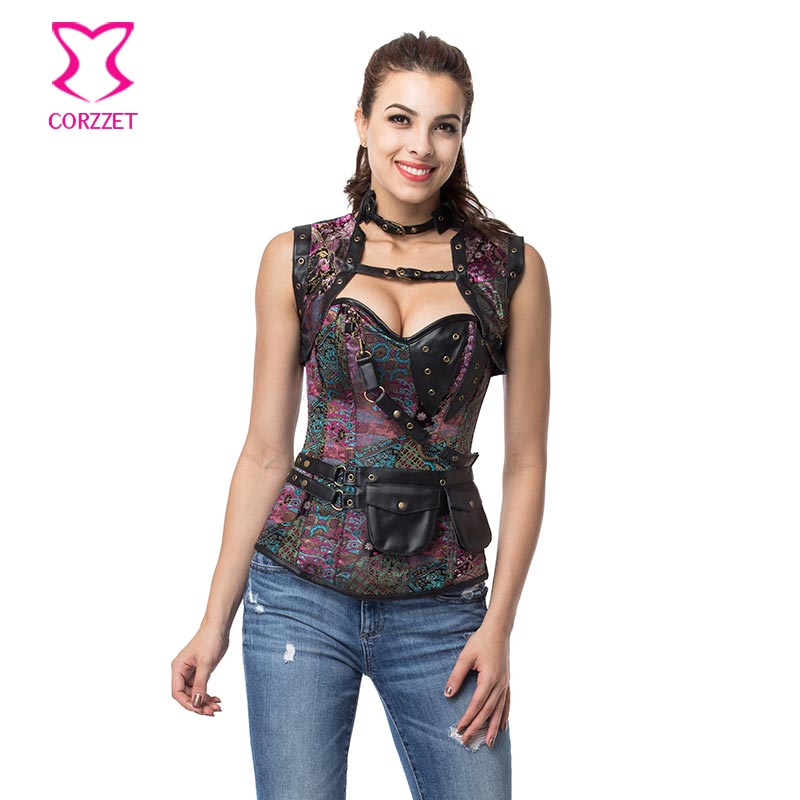 21619# Purple Brocade Overbust Corset Jacket Set Steampunk Clothing