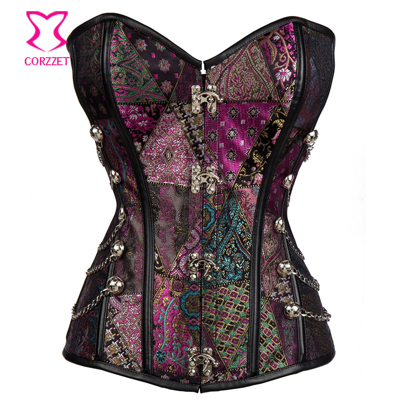 21626# Purple Brocade Steel Boned Waist Training Corset Steampunk